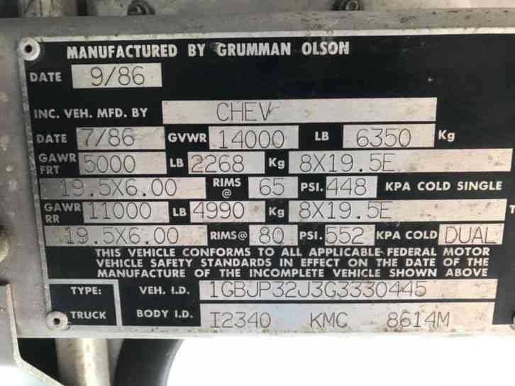 Chevrolet Grumman P30 (1986) : Van / Box Trucks