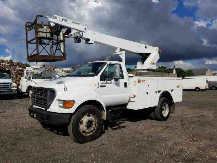 FORD F650 CABLE PLACING BUCKET BOOM TRUCK CAT DIESEL (2001)