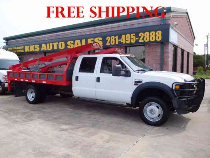FORD F-450 SUPER DUTY FLATBED WITH CRANE LONG BED (2008)