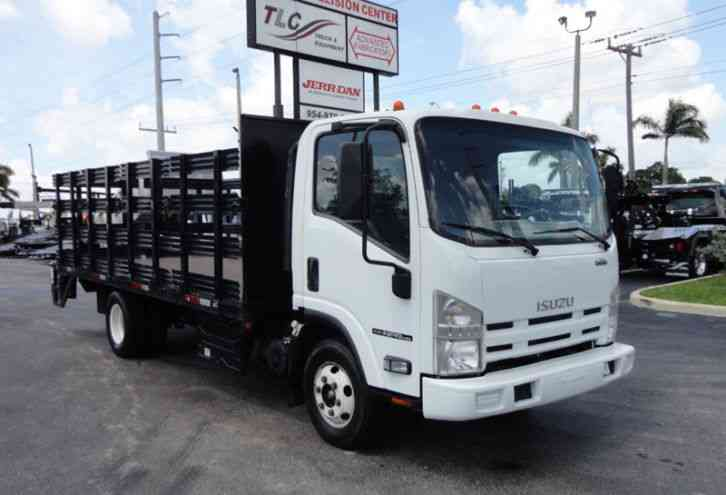 Isuzu NPR HD 16FT FLATBED STAKE BED WITH LIFTGATE. . STAKE TRUCK. (2014)
