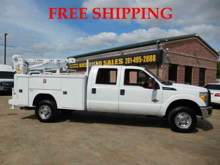 FORD F-250 XL 4WD UTILITY SERVICE TRUCK WITH 2700 LB LIFTMOORE CRANE CREW CAB LONG BED 6. 7 (2015)