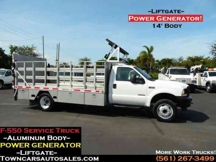Ford F550 14' Stake Truck FLATBED W/Generator (2003)